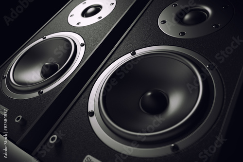 Fotografie, Obraz  Sound speakers close-up. Audio stereo system. 3d