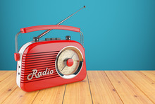 Vintage Red Radio Receiver On Wood Table. Wallpaper 3d
