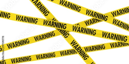 Photo  Yellow WARNING Barrier Tape Background Isolated on White