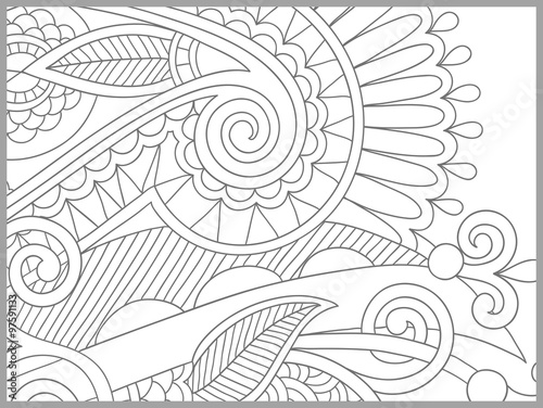 unique coloring book page for adults - flower paisley design ...