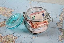 Piggy Bank On Travel Tourist Map. Saving Money For Travel, Planning Holiday Or Vacation