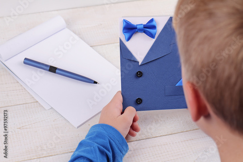 child making greeting card for father handmade dad happy birthday card happy fathers day