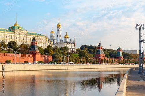 In de dag Barcelona View to Kremlin Embankment in Moscow in Russia