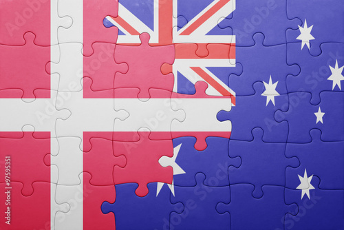 Photo  puzzle with the national flag of denmark and australia