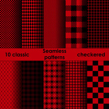 Set Of Checkered Simple Red An...