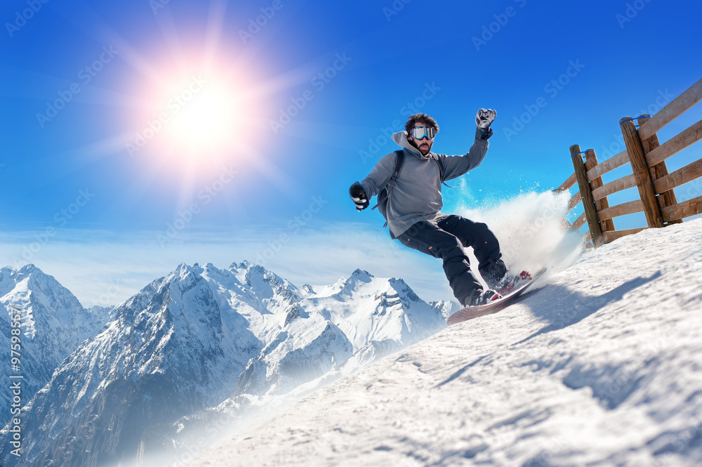 ba02806097f Fotografia Snowboarder freerider   Snowboarder man holding snowboard in the  air jumping wit su EuroPosters.it