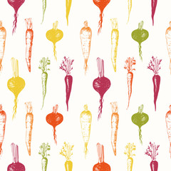 FototapetaHand-drawn root vegetables. Seamless nature background.