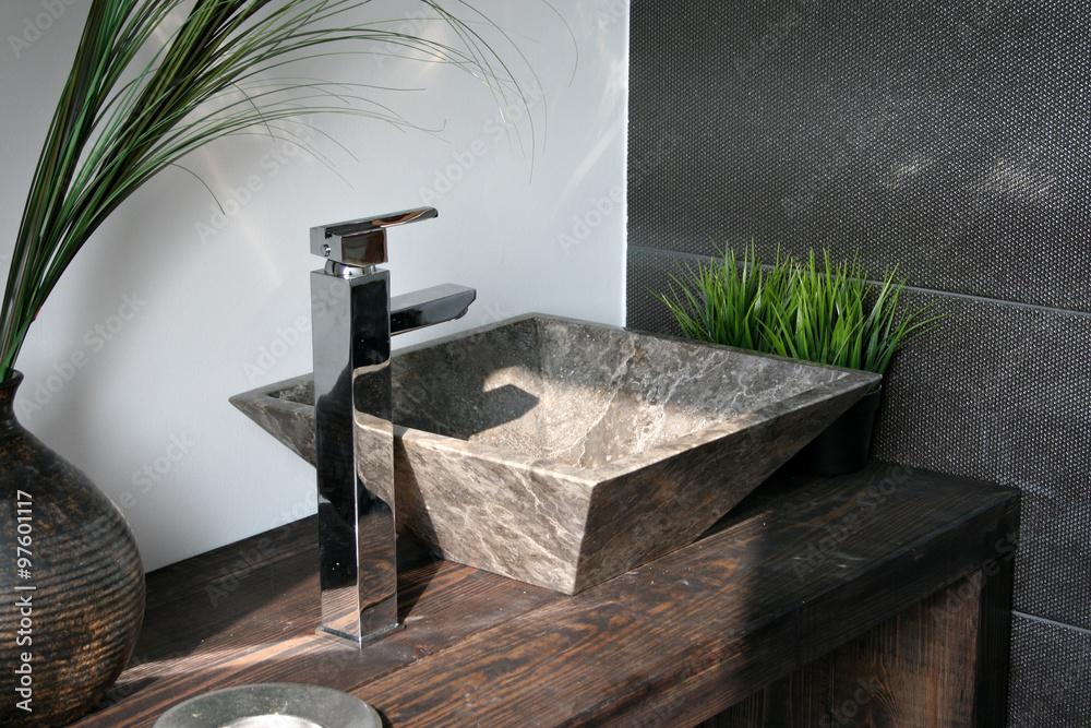 Aufsatzwachbecken Marmor Luxus holz armatur natürlich rustikal Spa ...