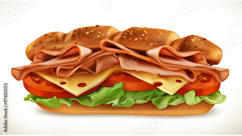 Cadres-photo bureau Snack Big sandwich with meat and cheese, vector icon