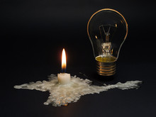 Crimea Without Power Supply From Ukraine.A Candle Melted In The Shape Of Crimea Symbolizes The Disconnection Of The Peninsula From Electricity.