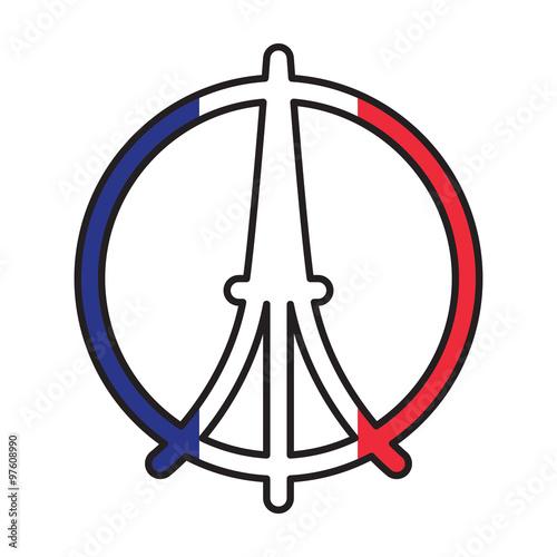 World Famous Landmark Symbol Of France On French Tricolour Flag