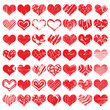 Hand drawn heart shapes, icons in red color for valentines and wedding. Painted collection of grunge vector hearts wedding. Made of chalk and watercolour.