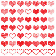 Heart Icons Set, Hand Drawn Ic...
