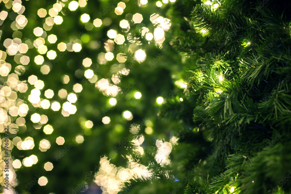 Close up of a green Christmas tree
