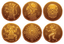 Vector Ancient Gold Coins Set. Cartoon Image Of Six Ancient Gold Coins With Different Engraving On A White Background.