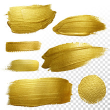 Vector Gold Paint Smear Stroke...