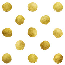 Vector Gold Glittering Polka Dot Stains Pattern
