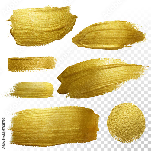 Fotografia  Vector gold paint smear stroke stain set.