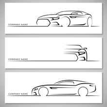Modern Sports Car Silhouettes. Vector Background