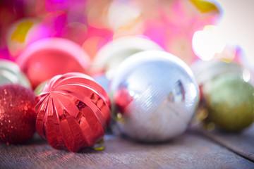 Christmas decoration on abstract bokeh