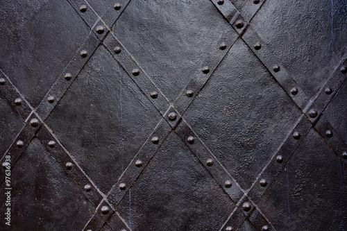 Carta da parati Old black iron door background, texture, wallpaper, pattern