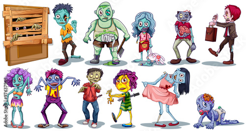 Foto op Canvas Robots Different character of zombies