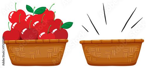 Fotografija  Empty basket and basket full of apples
