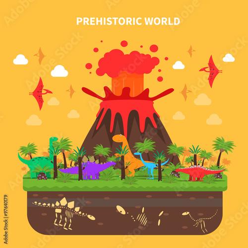 Fotografering  Dinosaurs Concept Illustration