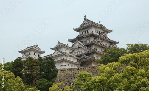 Himeji Castle With Trees, Kansai, Japan #97647579
