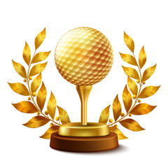 Obraz na Szkle Golf Golden golf award