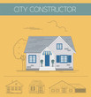 Building exteriors graphic template. Outline and color version s