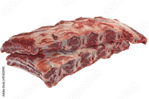 Stampa su Tela Beef Meat. Raw Black Angus Marbled Beef Ribs Isolated