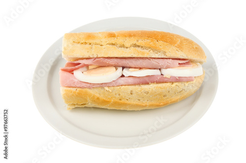 Ham and egg baguette