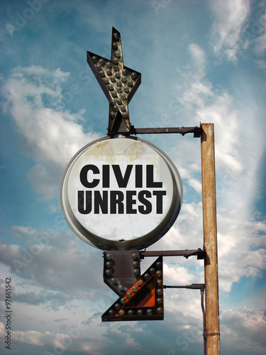 aged and worn vintage photo of civil unrest sign Wallpaper Mural