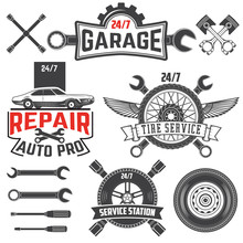 Collection Of Vintage Retro Grunge Car Labels, Badges And Icons. Garage,Car Repaire Station, Tire Service Labels And Badges And Design Elements.