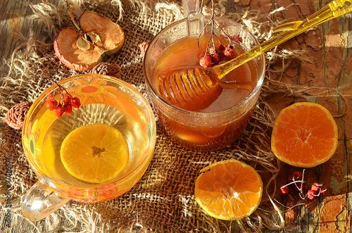 Мёд и чай с лимоном. Poster