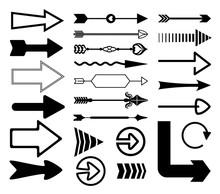 Set Of Decorative Arrows. Vector Illustration.