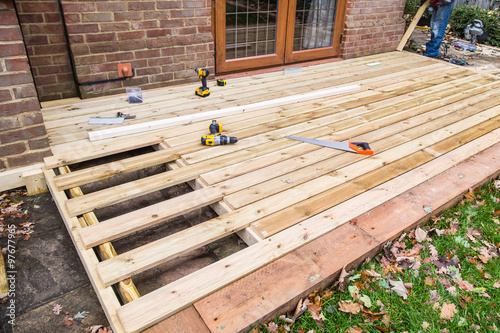 Fotografia  Wooden decking, deck, patio construction.