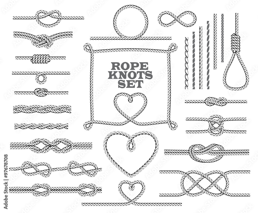 Fototapety, obrazy: Rope knots collection. Seamless decorative elements. Vector illustration.