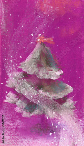 Spoed Foto op Canvas Iris Hand drawn illustration with christmas tree and snowflakes