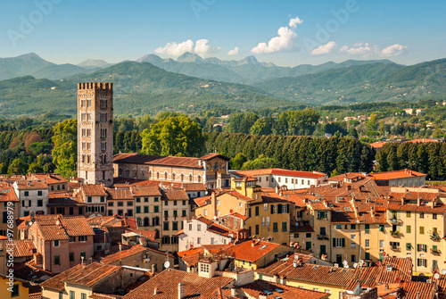 Lucca (Tuscany Italy) panorama with the Cathedral Fotobehang