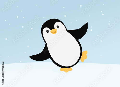 Fotografie, Obraz  Happy dancing penguin