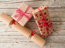 Christmas Presents On Wooden B...