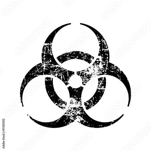 Leinwand Poster illustration vector black biohazard grungy rubber stamp symbol isolated on white
