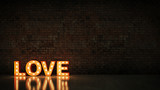 marquee light love letter sign, render 3D