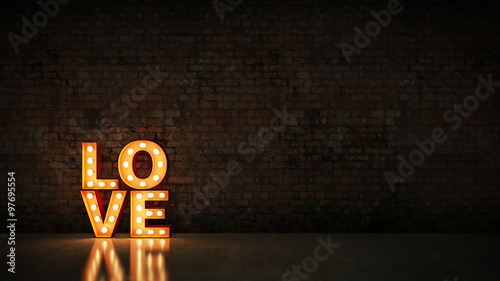 Obraz na plátně marquee light love letter sign, render 3D