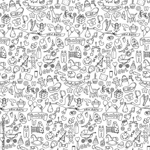 Tapety do pokoju dziewczynki bezszwowe-recznie-rysowane-doodle-dziecko-wzor