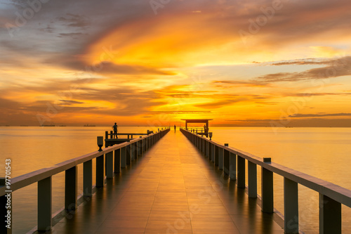 obraz dibond Wooden pier between sunset in Phuket, Thailand