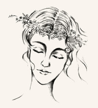 Illustration Of Women Face With Flower Crown On Her Head