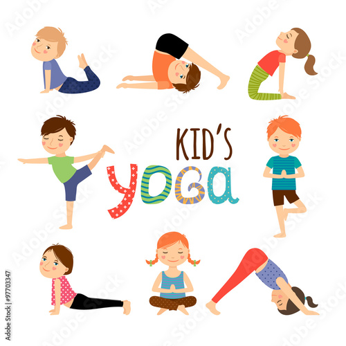 Yoga kids set Wallpaper Mural